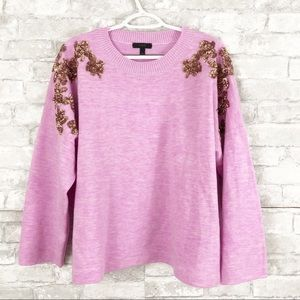J. Crew Floral Gold Sequin Pink Wool Sweater